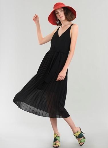 People By Fabrika Pilise Midi Elbise Siyah